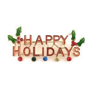 Vtg Happy Holidays Christmas Gold Tone Pin Brooch